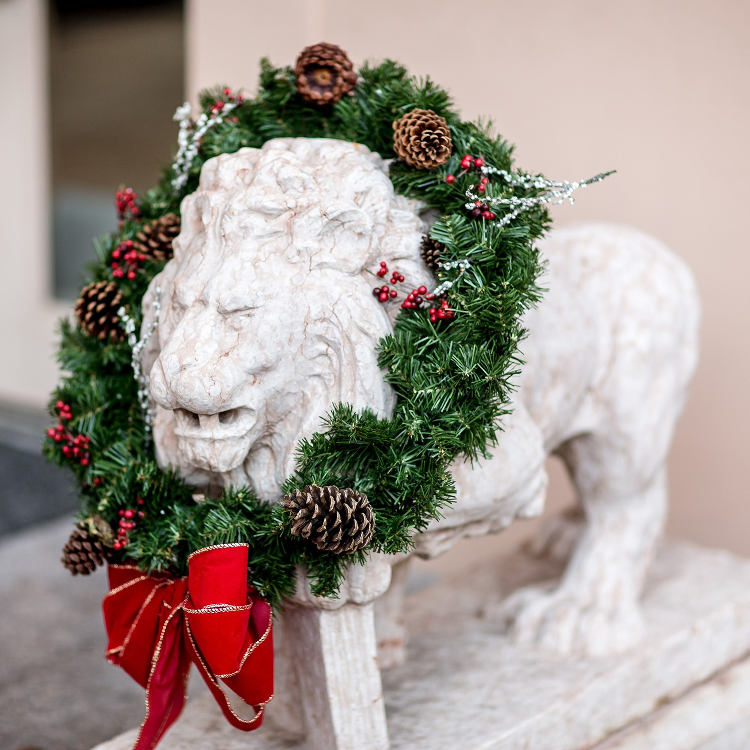 rienzi holiday / christmas lion with wreath