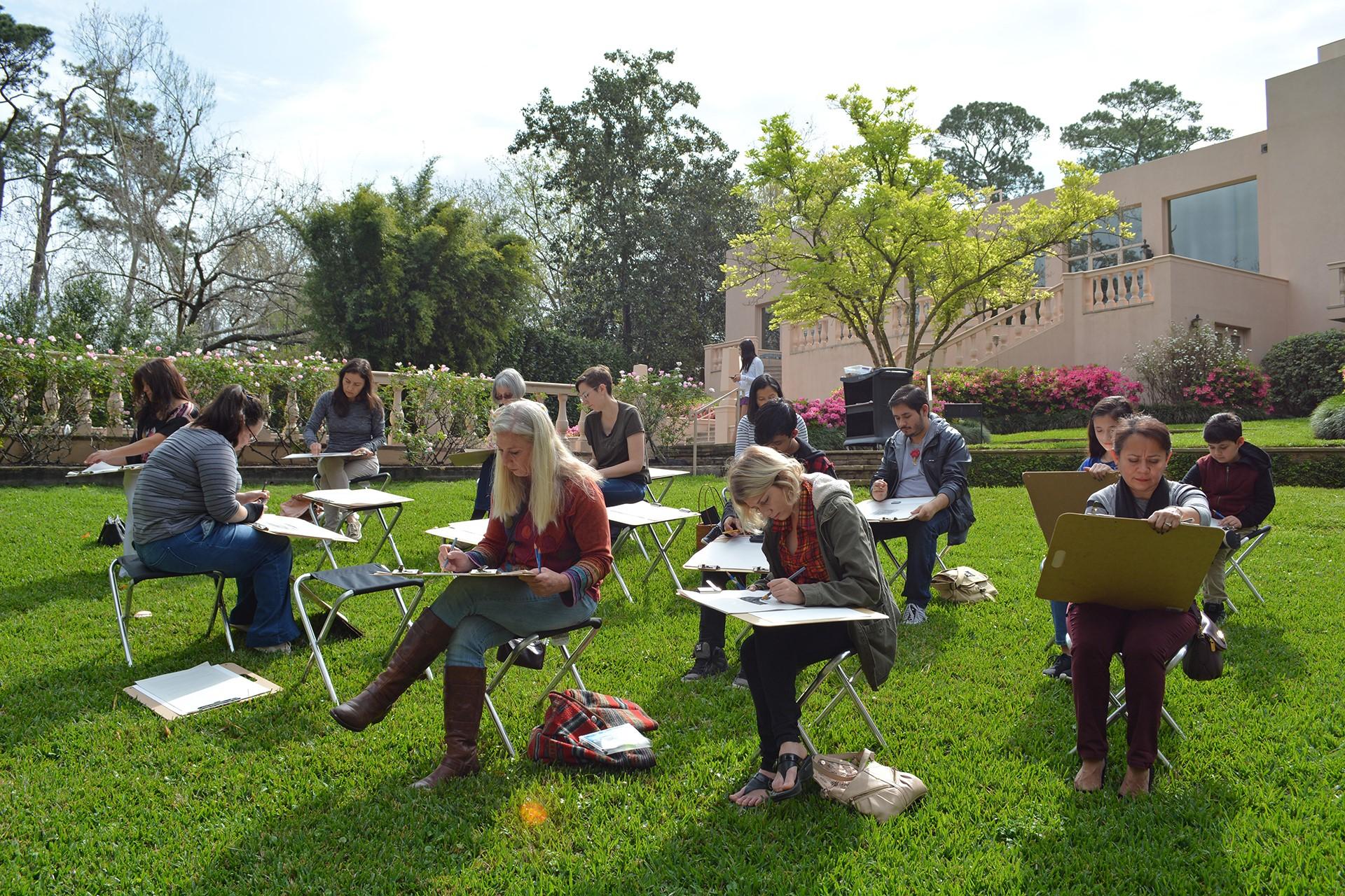 Rienzi sketching - in the gardens