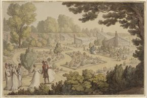 Thomas Rowlandson, Elegant Figures in a Walled Garden, 1803–05, watercolor and ink over traces of graphite on wove paper