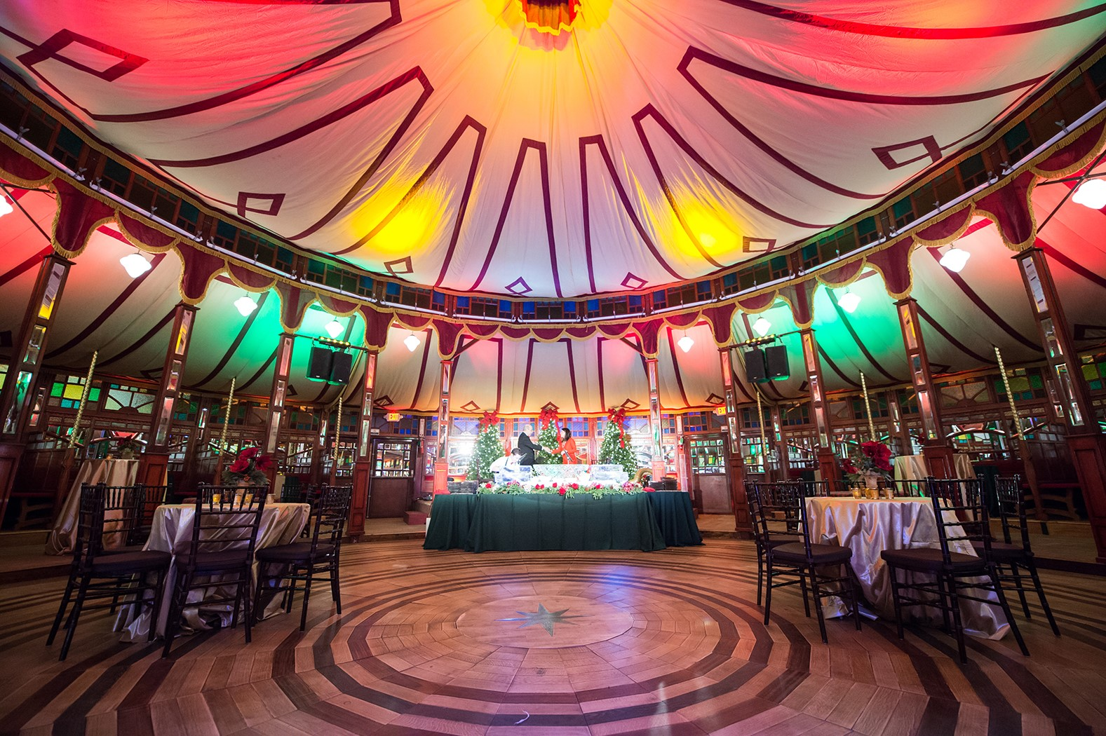 Spiegeltent at Bayou Bend - interior, set up for party
