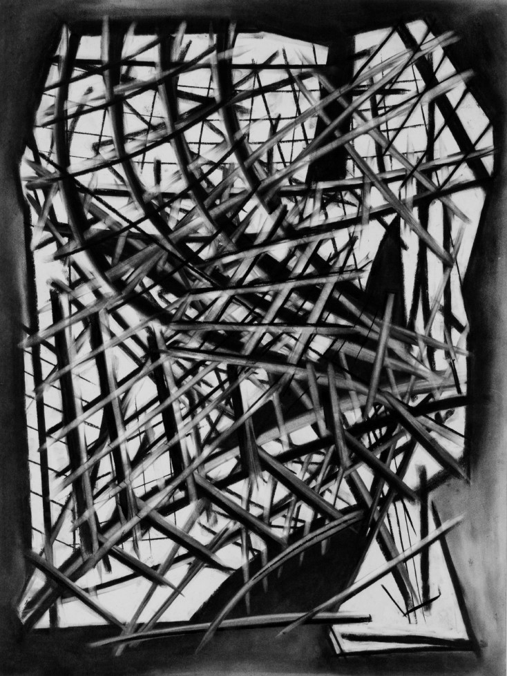 Andrew Groocock, Structural Drawing 2019, charcoal on paper. © Andrew Groocock