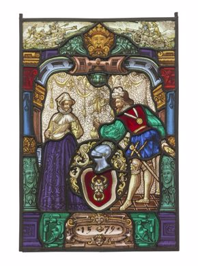 Unknown Swiss, Window Panel, 19th century, glass and painted enamel with lead caming