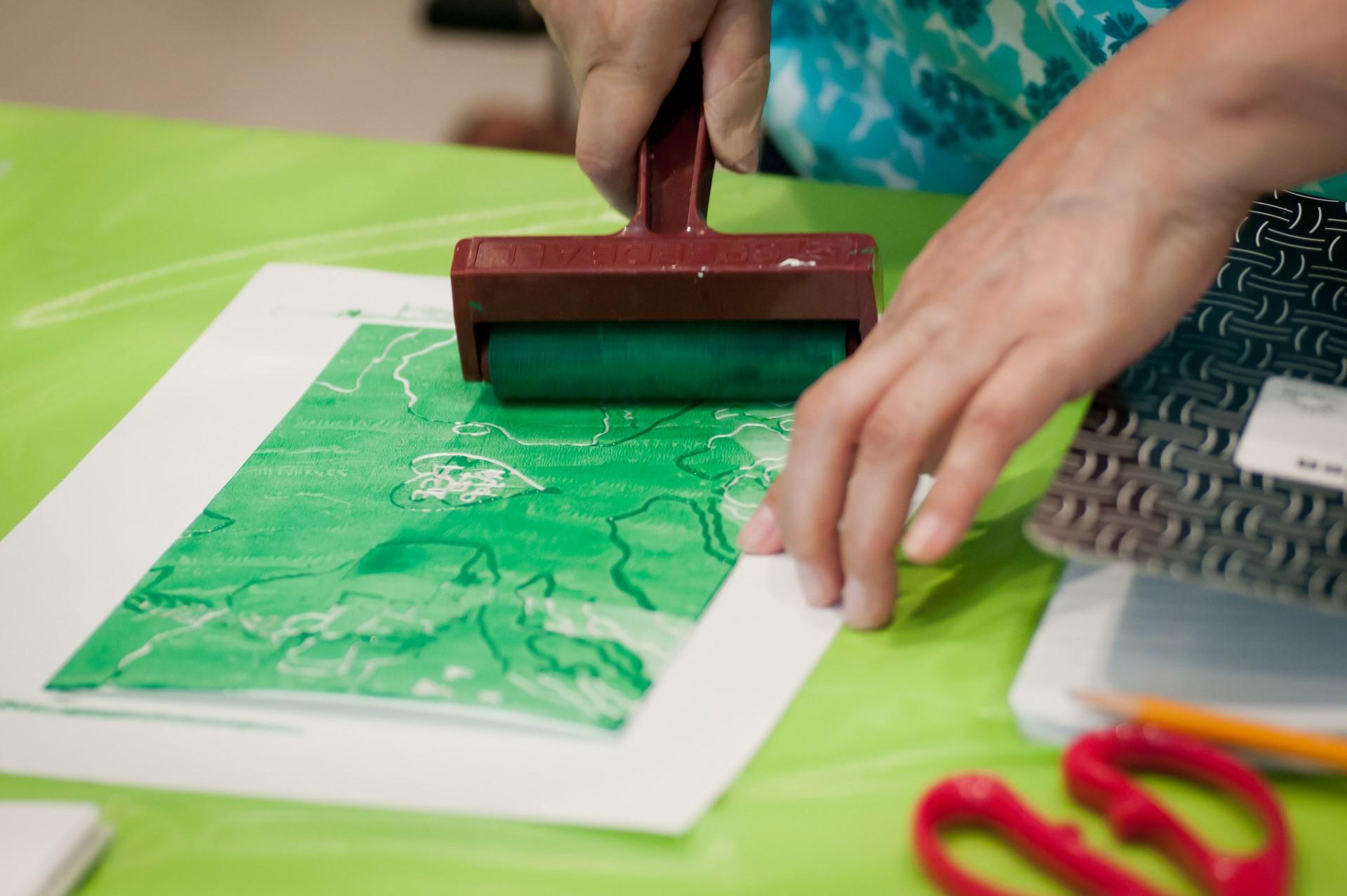 teacher / adult art-making workshop in the studio - printmaking