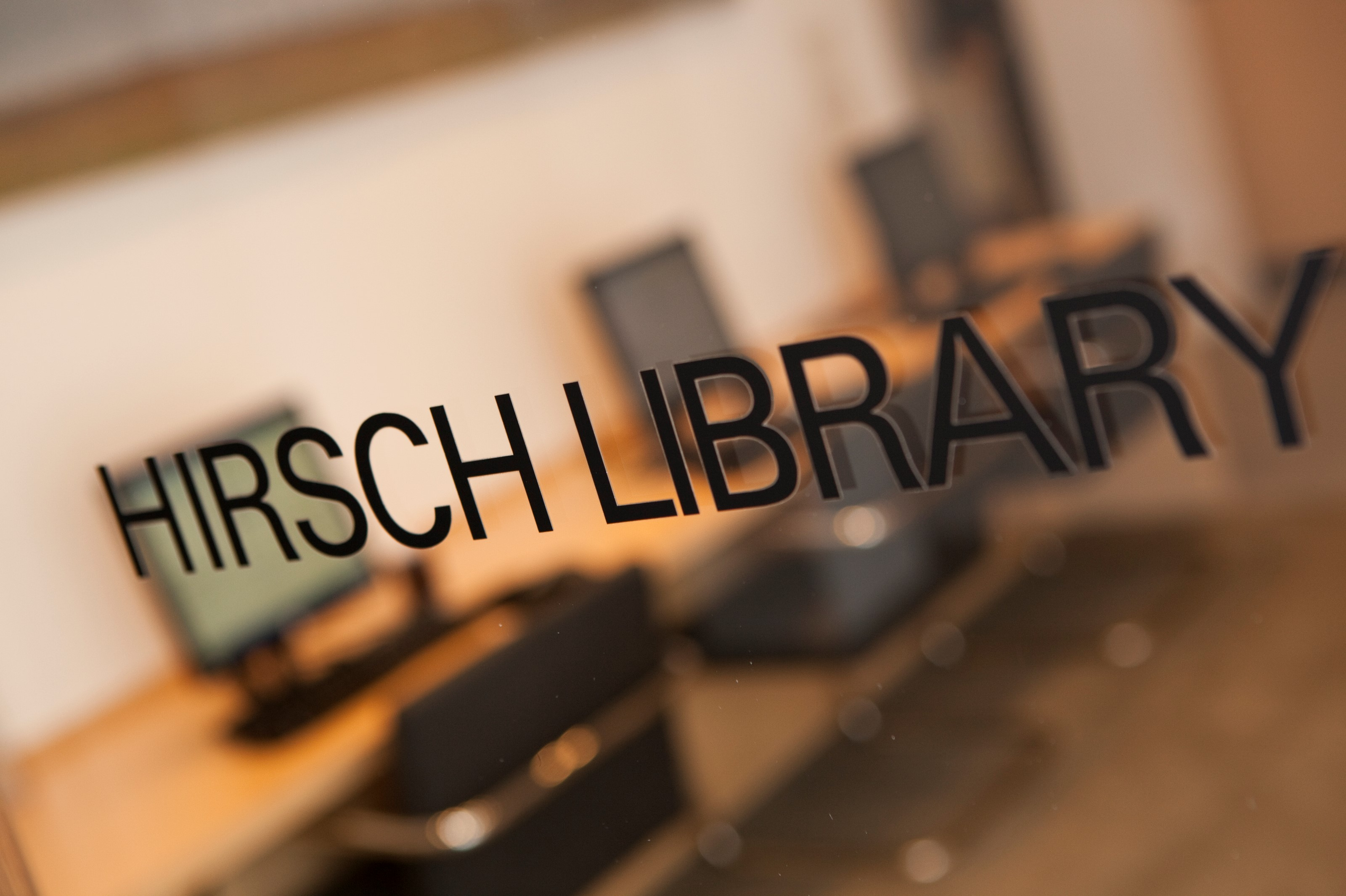 The Hirsch Library lettering glass door