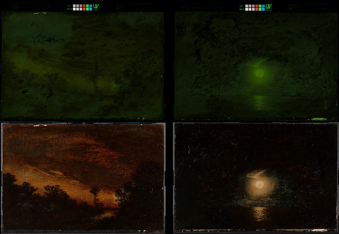 The top images of these two Ralph Albert Blakelock paintings—Afterglow on the left, Moonlight on the right—are the paintings shown using the new Target-UV tool.