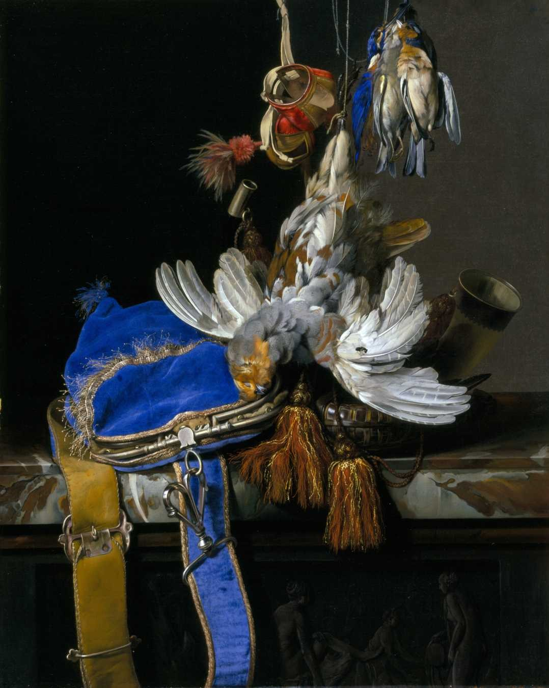 Van Aelst- Hunt Still Life with a Velvet Bag on a Marble Ledge