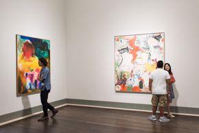 visitors in american art galleries in beck / de kooning & hofmann